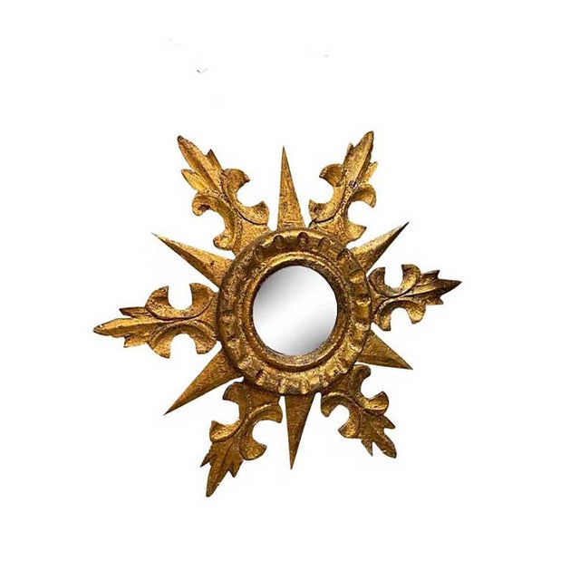 French Round Gilt Starburst Mirror For Sale - Image 3 of 3