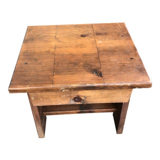 Rustic Solid Wood End Table For Sale