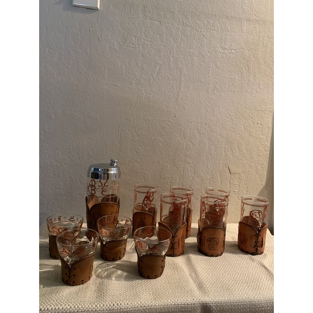 Mid-Century Western Theme Leather Accent Glasses and Shaker - 11 Piece Set For Sale - Image 9 of 9
