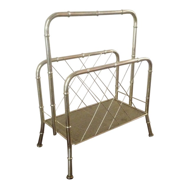 Vintage Faux Bamboo Gold Magazine Rack For Sale
