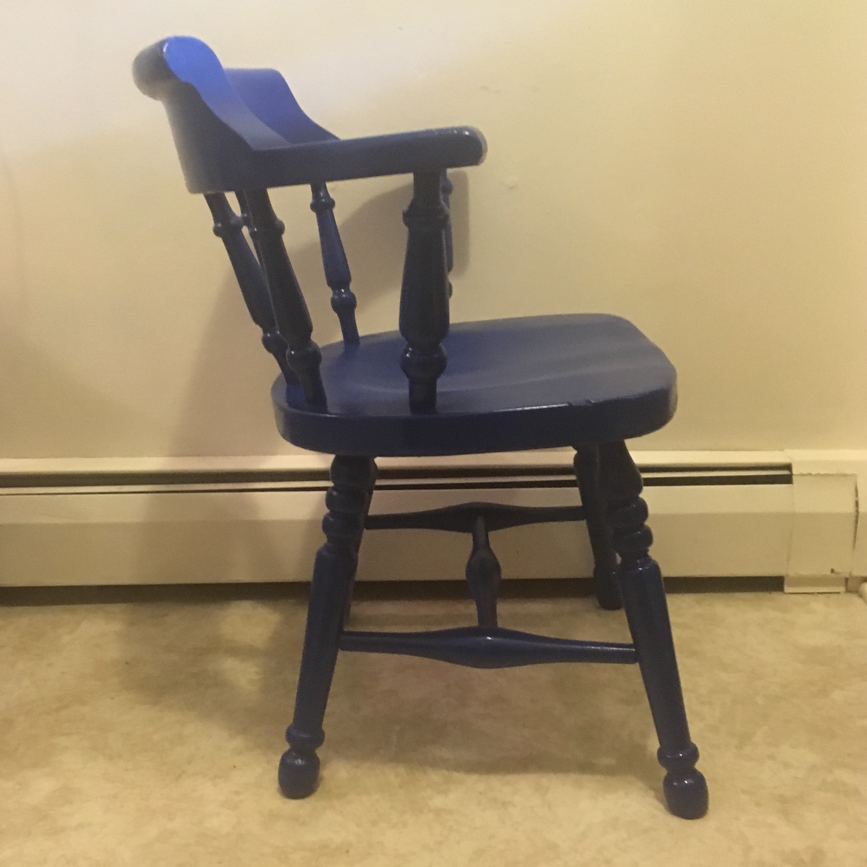 Vintage Lacquer Blue Wooden Captainu0027s Chair For Sale. This Is A Vintage,  Substantial, Well Made Example Of The Ever Popular