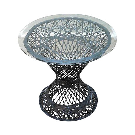 Russell Woodard Vintage Spun Fiberglass Patio Side Table W/ Round Glass Top For Sale