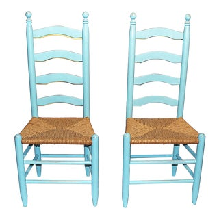 Ladderback Shabby Chairs - a Pair For Sale