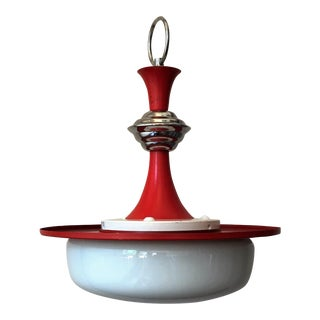 1950s Red Metal & White Glass Ceiling Lamp
