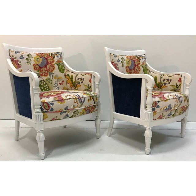 Shabby Chic 20th Century Pair Chairs Floral Pattern Cottage Style Painted Frames For Sale - Image 3 of 9