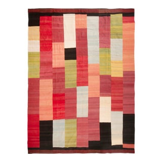 Contemporary All Over Geometric Red, Pink, Yellow, Green, Blue, Black and White Stripe Wool Kilim Rug - 9′11″ × 13′5″ For Sale