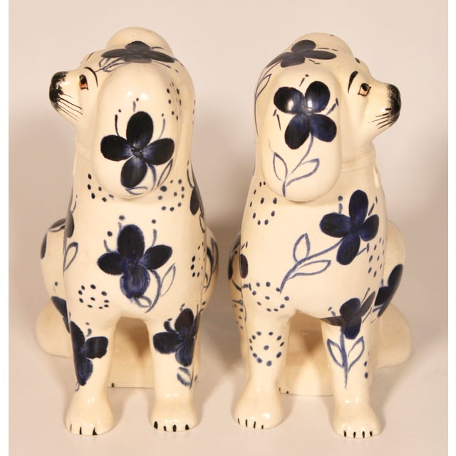 White Antique Blue and White Staffordshire Dogs - a Pair For Sale - Image 8 of 12