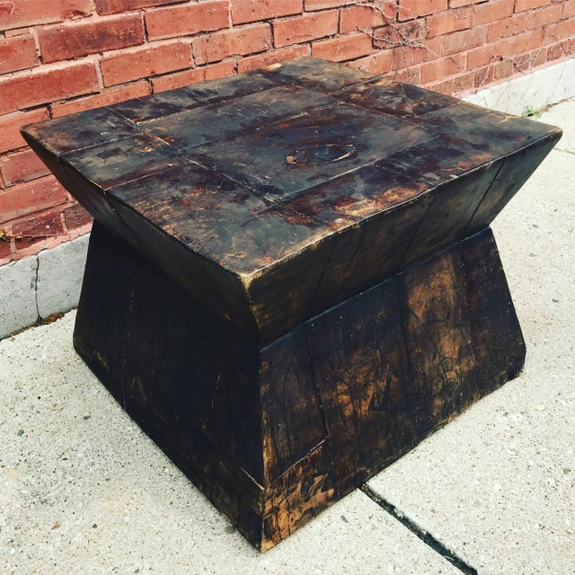 Brown Industrial Chic Antique Table For Sale - Image 8 of 9