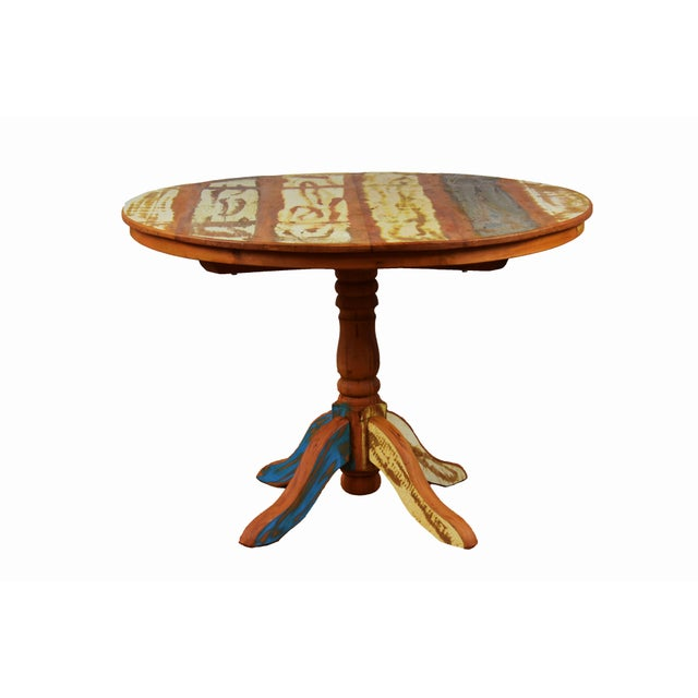Boho Chic Reclaimed Wood Round Dining Table For Sale - Image 3 of 3