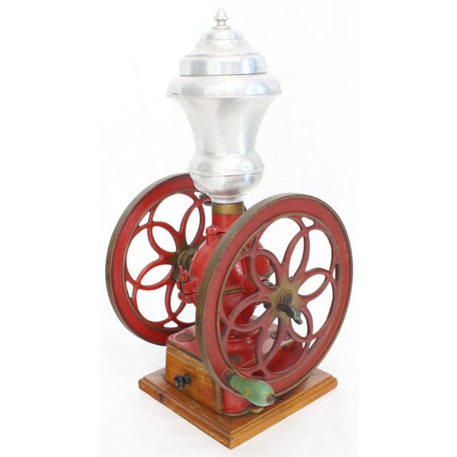 Large Antique Double Cast Iron Wheel Coffee Grinder Fire Red Very Clean For Sale - Image 4 of 12