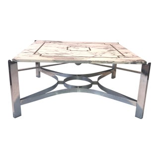 Custom Calcutta Marble With Brass Inlay Coffee Table For Sale