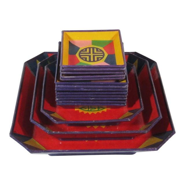 Colorful Lacquered Papier-Mache Snack Set For Sale