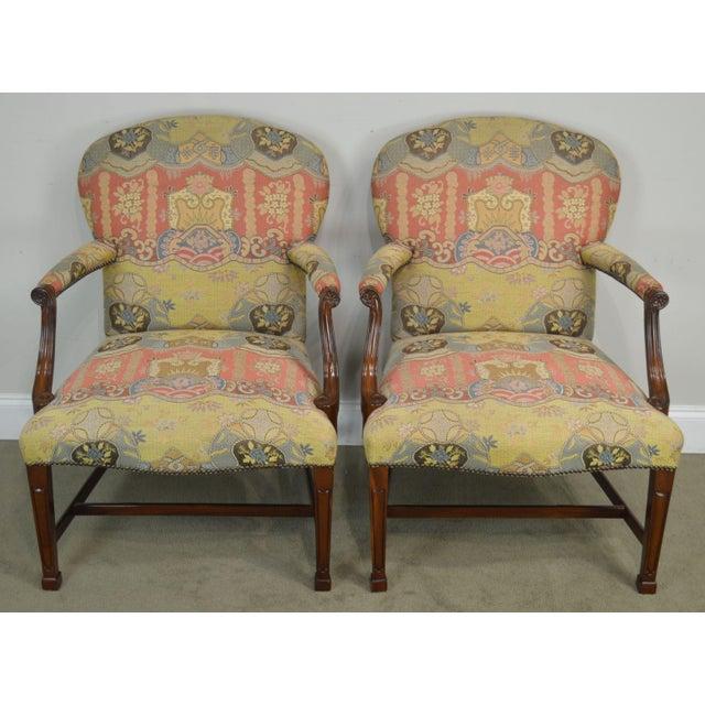 Hepplewhite Smith & Watson Hepplewhite Mahogany Pair Open Armchairs For Sale - Image 3 of 13
