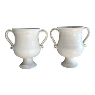 Mediterranean White Ceramic Fortunata Pippo Torcivia Vases With Handles - a Pair For Sale