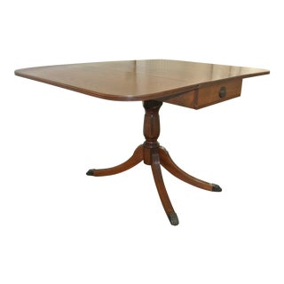1940s Drop Leaf Single Pedestal Dining Table With Silver Drawer