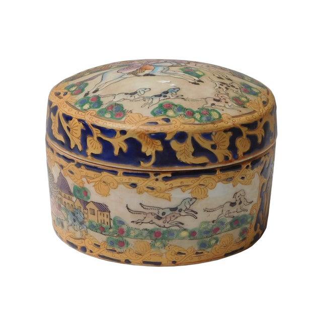 Oriental Porcelain Dominos Dog Container Box - Image 1 of 6