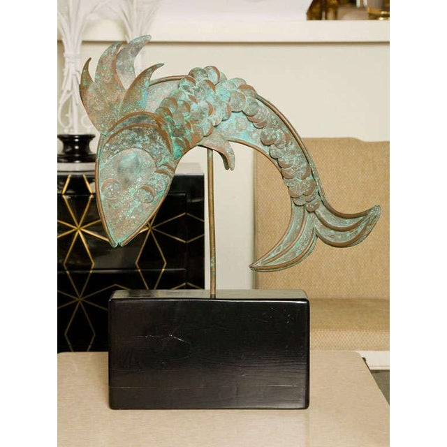 Metal fish sculpture with both a Jere and folk art aesthetic. Great vintage condition.