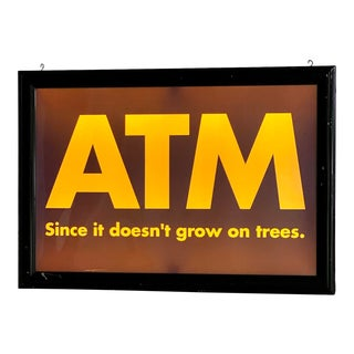 Vintage Large Scale Double-Sided Light Up Atm Sign, Circa 1980s For Sale