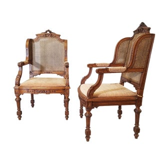 1910s Vintage Italian Renaissance Style Arm Chairs- A Pair For Sale