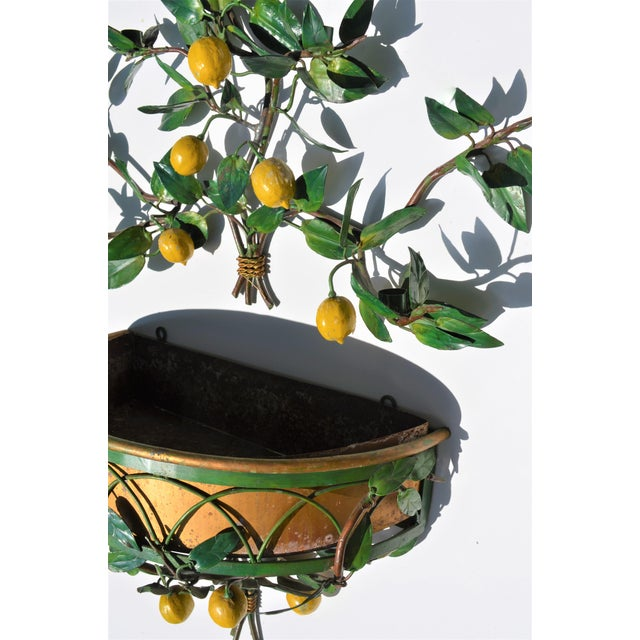 Vintage Italian Tole Lemon Tree Wall Sconce With Planter For Sale - Image 9 of 10