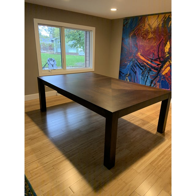 Orange Modern Dining Table & Leather Chairs For Sale - Image 8 of 9