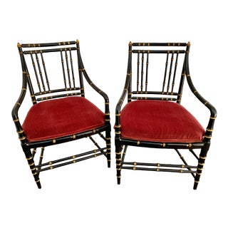 Antique Chinoiserie Black and Gold Faux Bamboo Chairs - a Pair For Sale