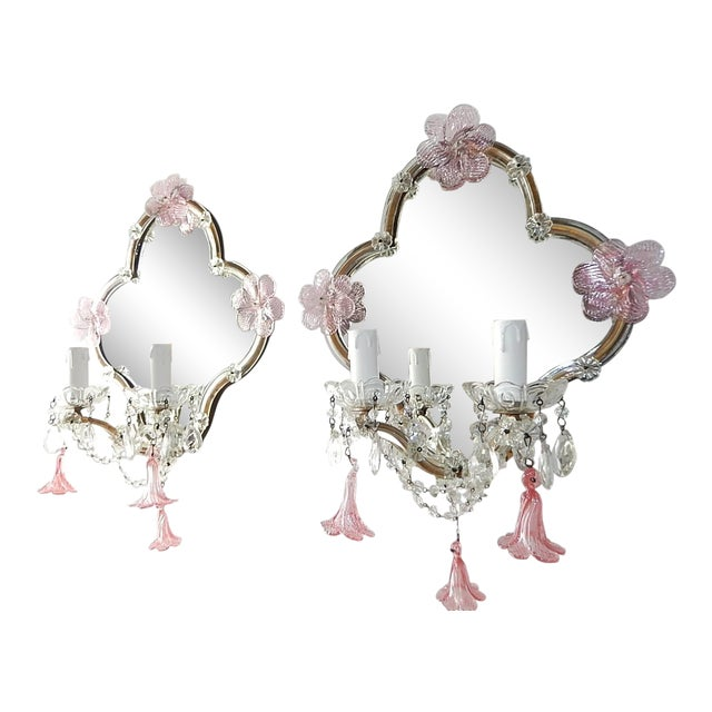 Huge Maison Baguès Style Mirror with Pink Murano Flowers Sconces For Sale
