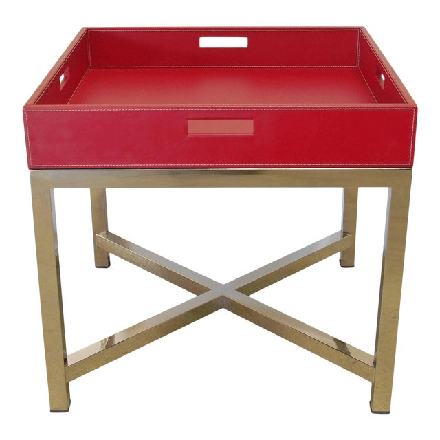 """Red leather and stainless steel tray table designed by Fabio Bergomi for Fabio Ltd / Made in Italy Height: 22"""" / Width:..."""