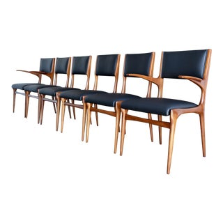 Mid-Century Modern Carlo DI Carli Black Leather and Walnut Dining Chairs - Set of 6