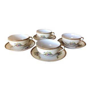 Noritake China Tea/Coffee Cups With Saucers - Set of 4 For Sale