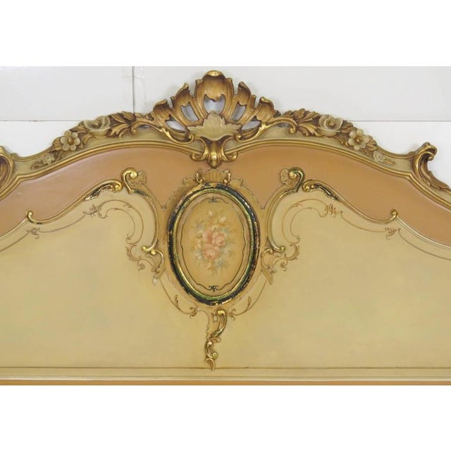 Venetian style paint decorated bed. Painted with gilt highlights.