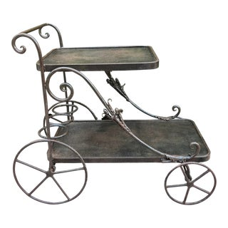 Vintage Wrought Iron Hand Made Bar Cart For Sale