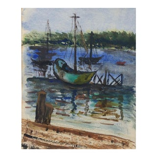 Vibrant Vintage Boat Watercolor Painting For Sale