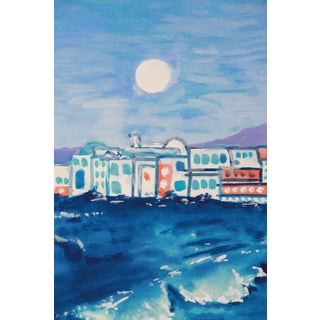 Landscape Greek Island Sea Painting by Cleo For Sale