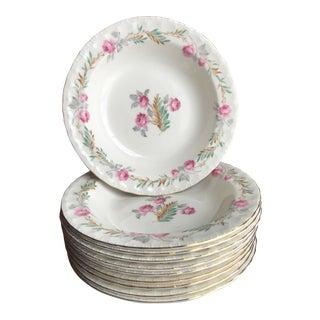 10 Vintage Shabby Chic Floral Gold Rim Soup Bowls