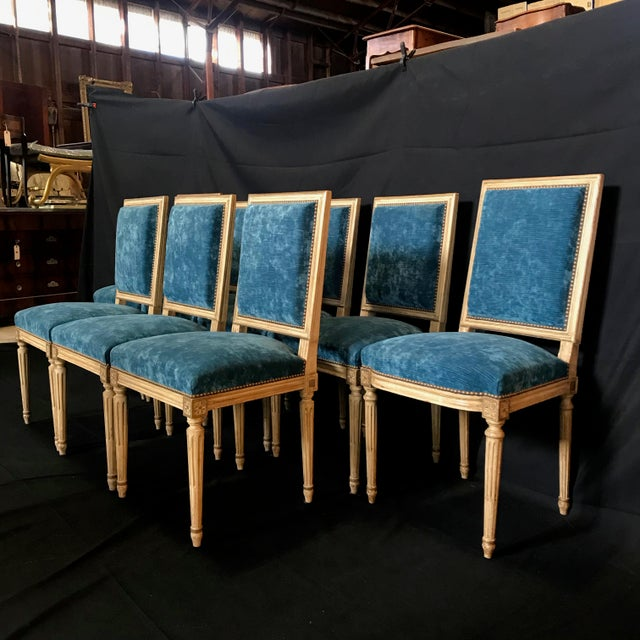 Blue Classic 19th Century Louis XVI Dining Chairs Original Ivory Paint -Set of 8 For Sale - Image 8 of 13