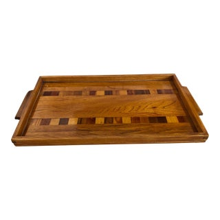 Mid-Century Modern Inlaid Wood Serving Tray For Sale