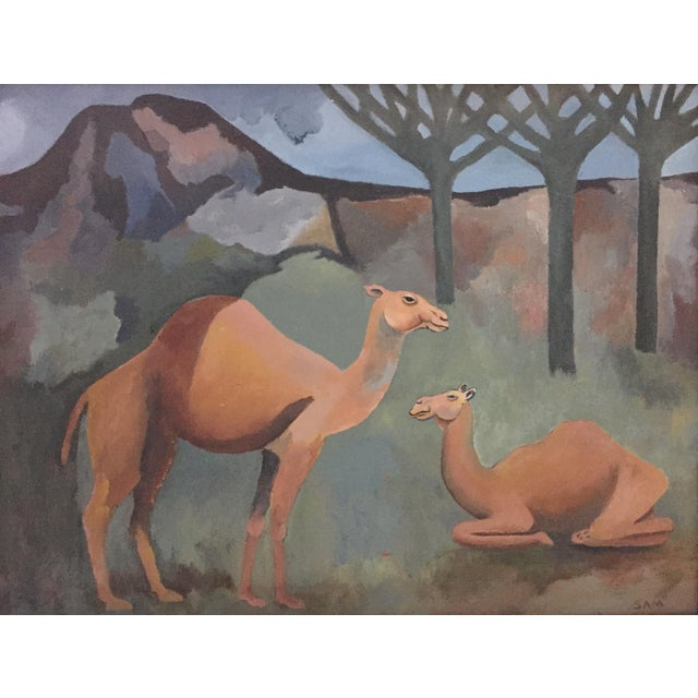Mid-Century Camel Oil Painting - Image 2 of 7