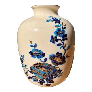 Lenox Chinoiserie Blue Floral Porcelain Vase For Sale