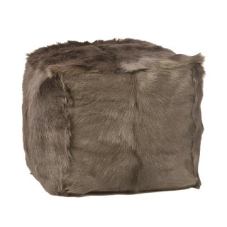 Dark Gray Fur Square Pouf For Sale