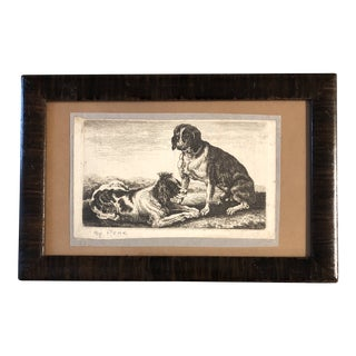 Original 19th Century Dog Etching by Peak For Sale