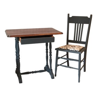 Traditional Spindle Leg Desk & Chair - A Pair