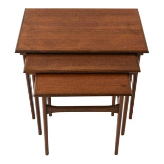 1960s Danish Modern Teak Nesting Tables - Set of 3 For Sale