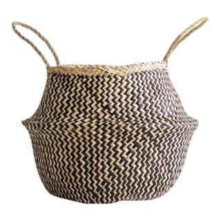 Large Sea Grass Belly Basket For Sale