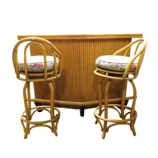 Restored Mid-Century Rattan Boomerang Bar with Foot Rest