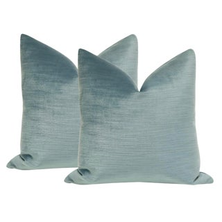 "22"" Strie Silk Velvet Cerulean Blue Pillows - a Pair For Sale"