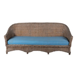 Victorian-Style Gray Wicker Sofa For Sale