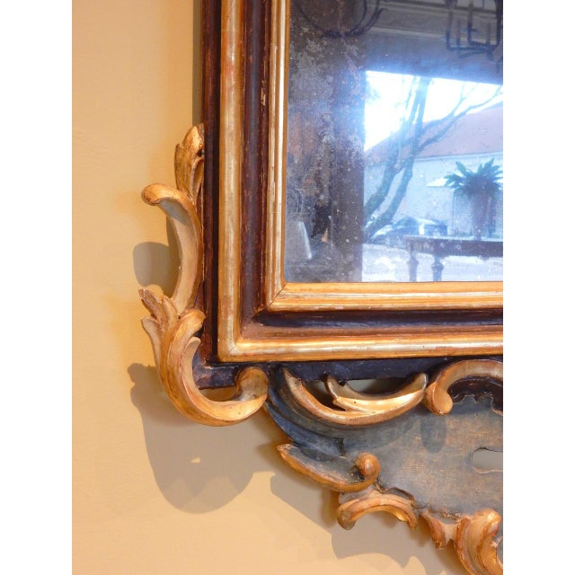 Gold Early 19th Century Italian Rococo Painted and Gilt Mirror For Sale - Image 8 of 9