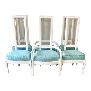 Mid-Century Bevelled Lucite Back Dining Chairs- Set of 6 For Sale
