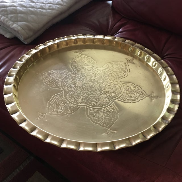 Vintage Round Bohemian Mid-Century Brass Tray For Sale - Image 11 of 11